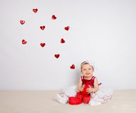 Child with hearts Royalty Free Stock Photos