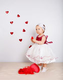 Child with hearts Royalty Free Stock Photography