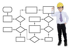 Child with helmet drawing flow chart Royalty Free Stock Photos