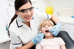 Child on her dental check up. Stock Photo