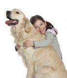 A child with her dog stock photo