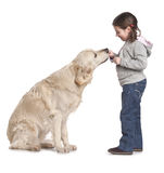 A child with her dog royalty free stock photo