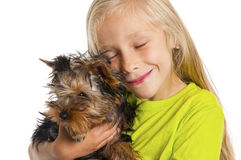 Child with her dog Royalty Free Stock Image