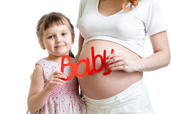 Child with her pregnant mother Royalty Free Stock Photos