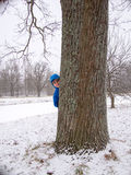 Child hidden behind a tree. On the background of snow Royalty Free Stock Image