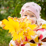 Child hidden behind yellow leaves Royalty Free Stock Image
