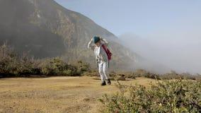Child hiking on mountain alone