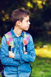 Child with his backpack Royalty Free Stock Photography