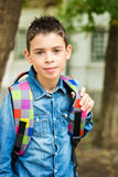 Child with his backpack Stock Images