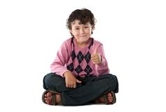 Child with his finger saying OK Royalty Free Stock Photo