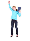Child hold book above head Stock Photos
