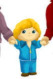 Child hold a hands character cartoon style  illustration Royalty Free Stock Image