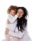 The child hold a nose with mother isolated Stock Photography