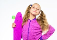 Child hold penny board. Kid long hair carry penny board. Plastic skateboards for everyday skater. Penny board of her. Dream. Best gifts for kids. Ultimate gift stock photos