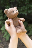 Child hold teddy in the hands Royalty Free Stock Photography