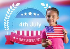 Child holding the american flag in front of independence day's poster. Digital composite of Child holding the american flag in front of independence day's poster royalty free stock photos