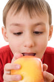 Child holding an apple and bites his Royalty Free Stock Image
