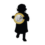 Child holding art euro illustration Royalty Free Stock Photo