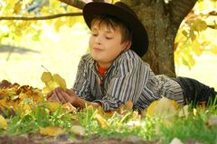 Child holding autumn leaves royalty free stock image