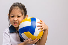 Child Holding Ball, Isolated on White Stock Images