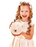Child holding big white Christmas ball. Isolated Royalty Free Stock Photography