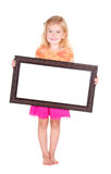 Child holding blank frame Royalty Free Stock Images