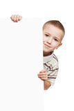 Child holding blank placard Royalty Free Stock Photo