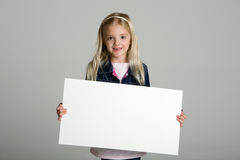 Child Holding Blank Sign Royalty Free Stock Photography