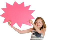 Child holding a blank sign Stock Photo