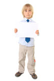 Child holding blank sign over white Royalty Free Stock Images