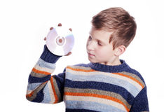 Child with DVD disc Stock Photo