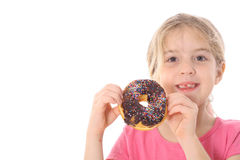Child holding a chocolate donut. Isolated on white Stock Images