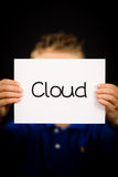 Child holding Cloud sign Royalty Free Stock Images