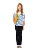 Child holding colorful folders Stock Image