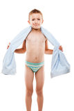 Child holding cotton textile towel Royalty Free Stock Photos