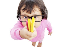 Child holding crayon Stock Photos