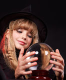 Child holding crystal ball. Stock Image