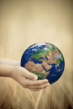Child holding Earth in hands Royalty Free Stock Photo
