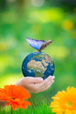 Child holding Earth planet with blue butterfly in hands. Against green spring background. Elements of this image furnished by NASA royalty free stock photo
