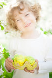 Child holding Easter eggs Royalty Free Stock Photography