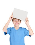 Child holding empty board over head for texting Royalty Free Stock Photos