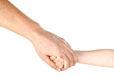 Child holding father`s hand isolated. On a white Royalty Free Stock Photos
