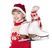 Child holding figure skates. Stock Photography
