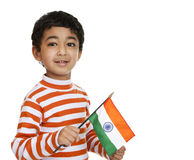 Child Holding a Flag of India. Isolated, White Stock Image