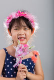 Child Holding Flowers / Girl with Flowers Background Royalty Free Stock Images