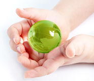 Child holding globe in hands Royalty Free Stock Photography