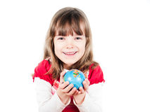 Child holding a globe Stock Images