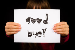 Child holding Good Bye sign Royalty Free Stock Images