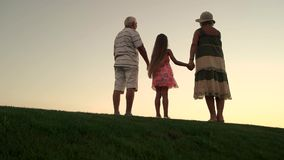 Child holding hands with grandparents, back view. Slow motion seniors with granddaughter standing on green lawn at sunset sky stock footage