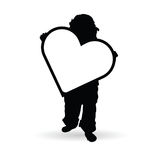Child holding heart illustration silhouette. In black color Stock Image